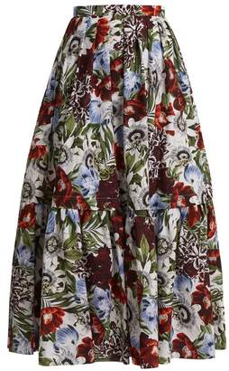 Erdem Leigh Floral Print Cotton Skirt - Womens - Red Print