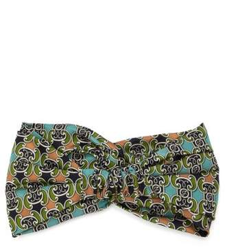 Fendi Geometric Print Silk Headband - Womens - Green
