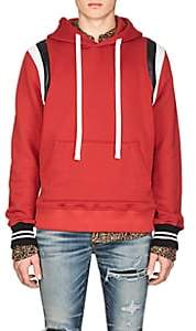 Amiri Men's Leather-Striped Cotton Hoodie-Red