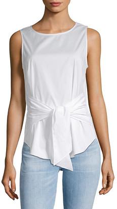 Saks Fifth Avenue Sleeveless Tie Front Cotton Top