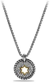 David Yurman Cable Collectibles Star of David Charm Necklace with Diamonds and 18K Gold