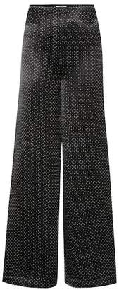 Ganni Polka-dot wide-leg satin pants