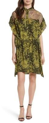 Diane von Furstenberg Overlay Detail Tropical Silk Shirtdress