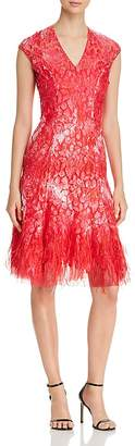 Elie Tahari Moriah Feather-Hem Dress