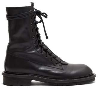 Ann Demeulemeester Double Lace Up Leather Boots - Womens - Black