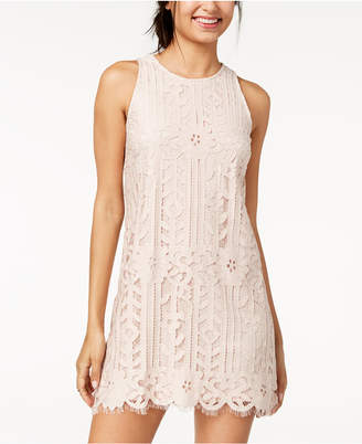 Speechless Juniors' Lace Sheer-Hem Shift Dress