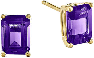 FINE JEWELRY Emerald-Cut Genuine Amethyst 14K Yellow Gold Earrings