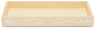 AERIN Valentina Embroidered Raffia Tray - Gold