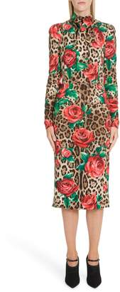 Dolce & Gabbana Rose & Leopard Print Tie Neck Stretch Silk Midi Dress
