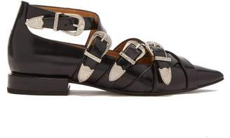 Toga Buckled Leather Flats - Womens - Black