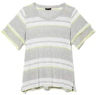 Vince Camuto Striped Fringe-sleeve T-shirt