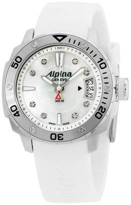 Alpina Seastrong Diver AL240LSD3V6 White Dial Silicone Strap 38mm Womens Watch