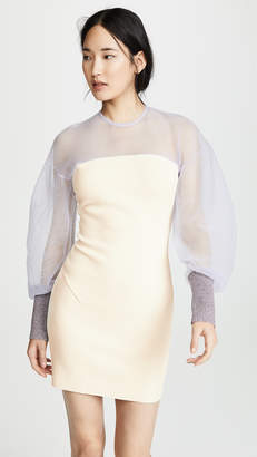 Esteban Cortazar Maxi Sleeve Open Back Dress