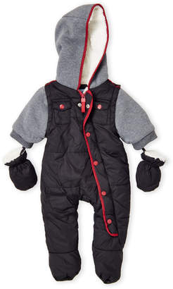 Urban Republic Newborn Boys) Sherpa Lined Quilted Hooded Snowsuit
