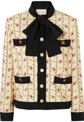 Gucci Floral-print Silk-marocain Jacket - Ivory