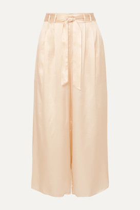 BEIGE Le Kasha - Gansu Cropped Silk-satin Wide-leg Pants