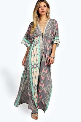 boohoo Pasty Woven Kimono Sleeve Maxi Dress $35 thestylecure.com