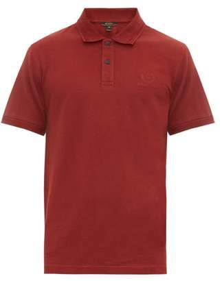 Belstaff Logo Embroidered Cotton Pique Polo Shirt - Mens - Burgundy