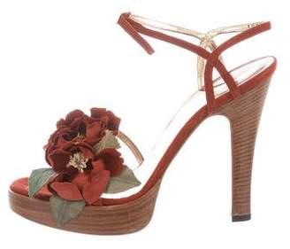 Dolce & Gabbana Floral Appliqué Ankle Strap Sandals