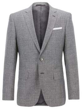 BOSS Hugo Slim-fit blazer foldable pocket square 40R Grey