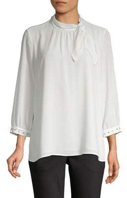 Karl Lagerfeld Paris Embellished Three-Quarter Sleeve Blouse