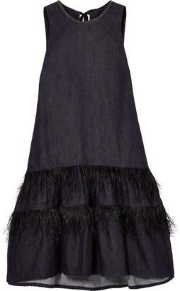 Brunello Cucinelli Feather-trimmed Bead-embellished Denim Dress - Blue