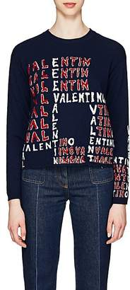 Valentino Women's Logo-Puzzle Wool-Cashmere Sweater - Blue