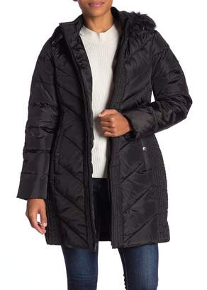 Larry Levine Quilted Down Faux Fur Hood Coat