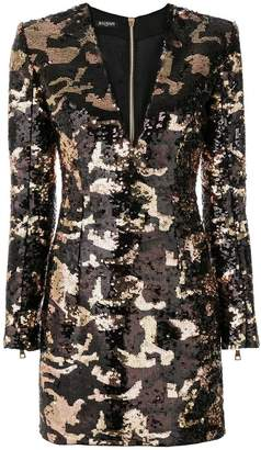 Balmain camouflage sequin dress