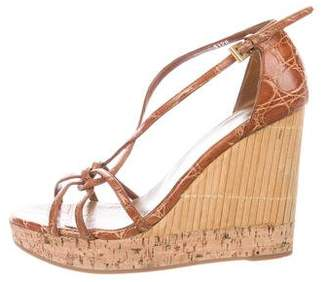 Prada Alligator Platform Wedges