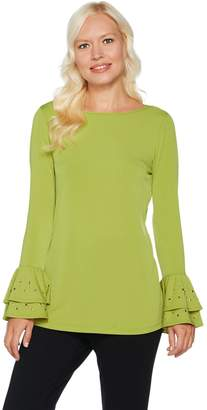 DAY Birger et Mikkelsen Every by Susan Graver Liquid Knit Top w/ Embellished Ruffled Cuffs