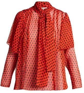 Diane von Furstenberg Baker Polka Dot Print Silk Pussy Bow Blouse - Womens - Red Print