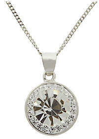 Evoke Rhodium Plated Sterling Silver Crystal Halo Pendant