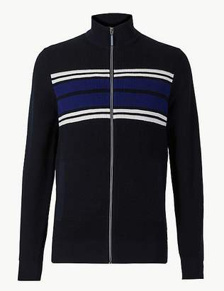 Marks and Spencer Pure Cotton Striped Zip Through Jumper