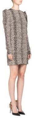 Saint LaurentSaint Laurent Puffed-Sleeve Leopard Dress