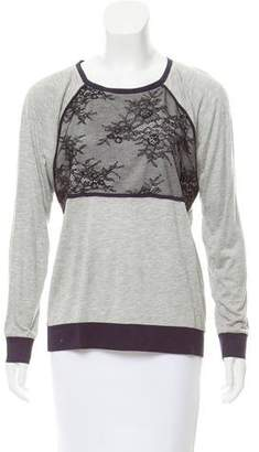 Tibi Lace-Trimmed Long Sleeve Top