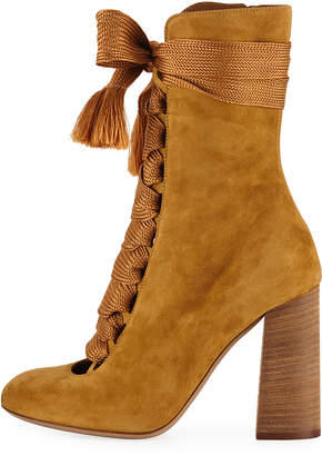 Chloé Suede Chunky Lace-Up Booties, Spicy Yellow