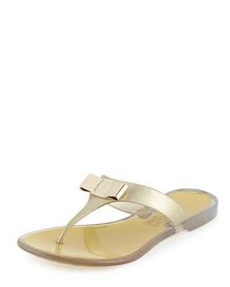 Salvatore Ferragamo Farelia Bow Flat Jelly Thong Sandal, Bronze $240 thestylecure.com