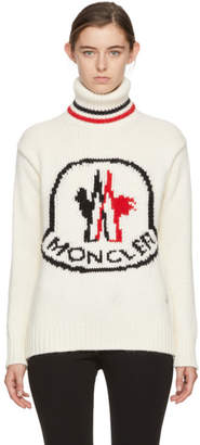Moncler Gamme Rouge White Cashmere Logo Turtleneck