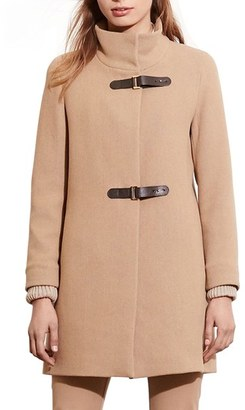 Women's Lauren Ralph Lauren Funnel Neck Wool Coat $340 thestylecure.com