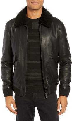 BOSS Gordani Genuine Shearling Collar Leather Aviator Jacket