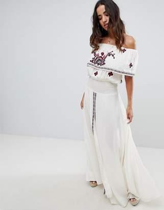 Raga Tessi Off Shoulder Printed Maxi Dress