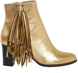 Christian Louboutin Gold Leather Ankle boots