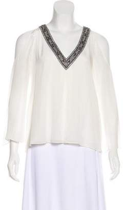 Alice + Olivia Embellished Cold-Shoulder Top w/ Tags