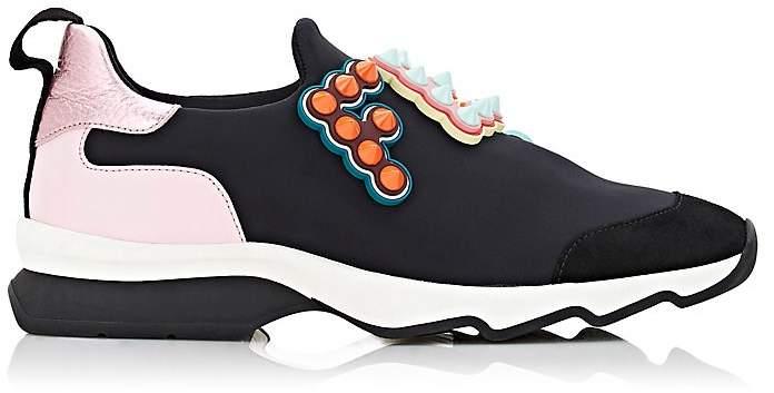 Fendi Women's Studded Logo Neoprene Slip-On Sneakers