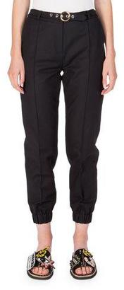 Kenzo Belted Cropped Cotton-Blend Track Pants, Black $375 thestylecure.com