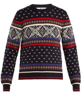 MSGM Snowflake-intarsia wool-blend knit sweater