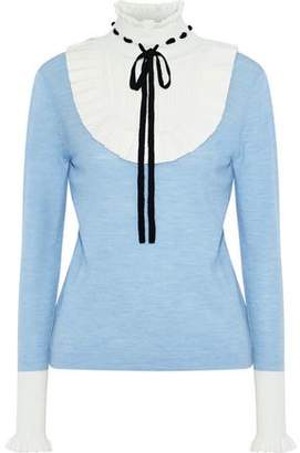 Temperley London Pointelle Knit-Paneled Mélange Wool-Blend Sweater