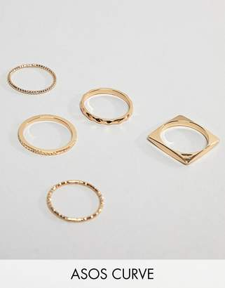 Asos Design Curve Pack Of 5 Rings In Engraved And Cut Out Square Design In Gold