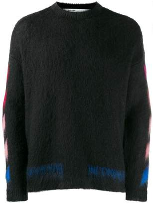 Off-White Off White diagonal brushed sweater black